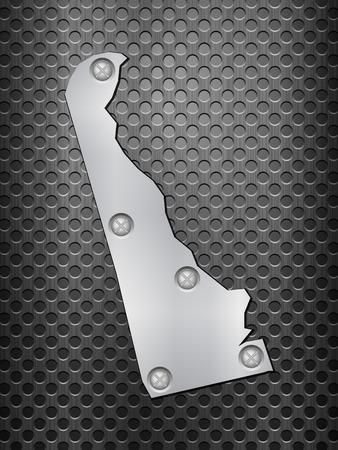 metal noir: Delaware carte du m�tal sur une grille en m�tal noir.