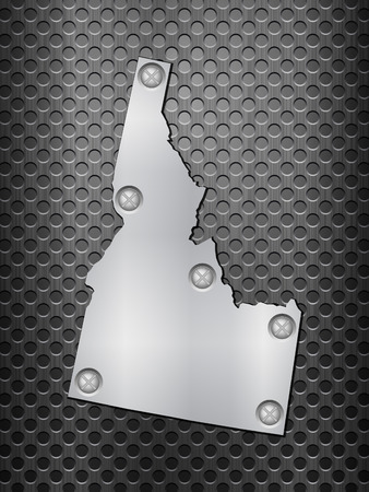 metal grid: Idaho metal map on a black metal grid. Illustration