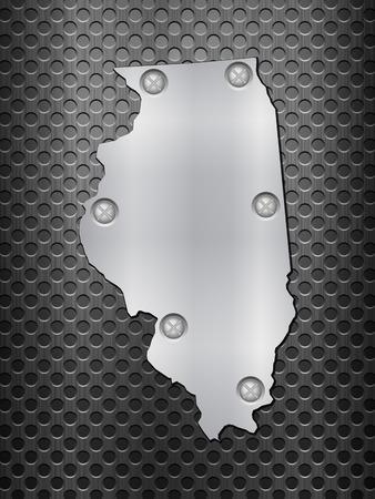 metal noir: Illinois carte de m�tal sur une grille en m�tal noir.