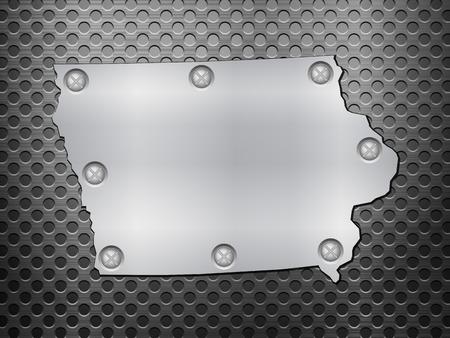 metal noir: Iowa carte de m�tal sur une grille en m�tal noir. Illustration