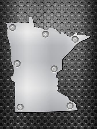 metal noir: Minnesota carte de m�tal sur une grille en m�tal noir. Illustration