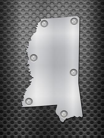 metal noir: Mississippi carte de m�tal sur une grille en m�tal noir.