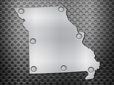 metal noir: Missouri carte de m�tal sur une grille en m�tal noir. Illustration