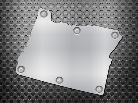 metal noir: Oregon carte de m�tal sur une grille en m�tal noir.
