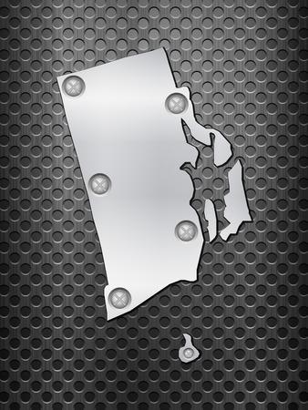 metal noir: Rhode Island carte de m�tal sur une grille en m�tal noir. Illustration