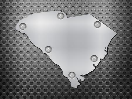 metal noir: Caroline du Sud carte de m�tal sur une grille en m�tal noir.