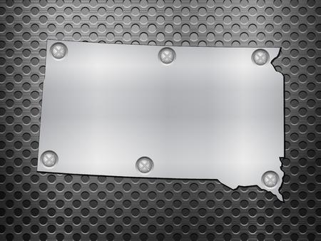 metal noir: Dakota du Sud carte de m�tal sur une grille en m�tal noir. Illustration