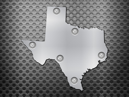 metal noir: Texas carte du m�tal sur une grille en m�tal noir.