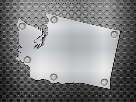 metal noir: Washington carte de m�tal sur une grille en m�tal noir. Illustration