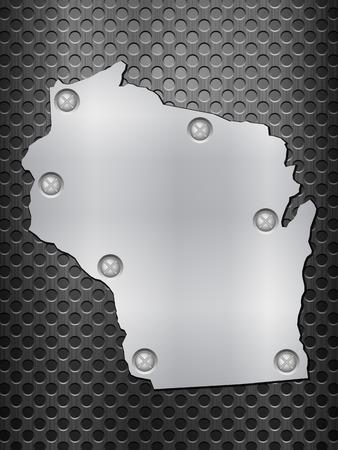 metal noir: Wisconsin carte de m�tal sur une grille en m�tal noir. Illustration