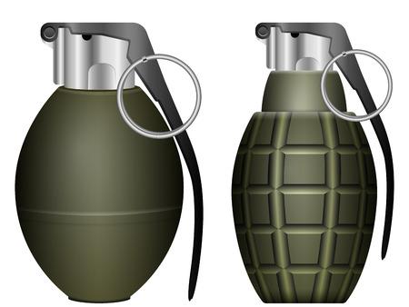 Green grenade set on a white background. Illustration