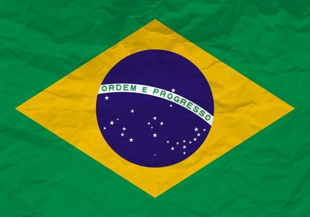 rumple: Brazil flag crumpled paper textured background. Vector illustration.
