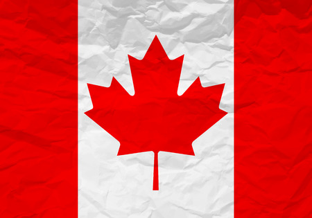 rumple: Canada flag crumpled paper textured background. Vector illustration.