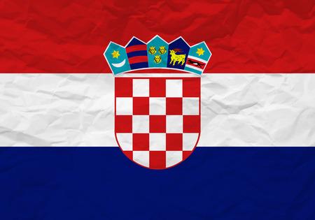 bandiera croazia: Croazia bandiera carta stropicciata texture di sfondo. Illustrazione vettoriale. Vettoriali