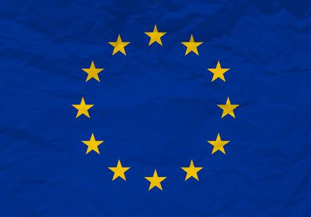 scrunch: Europran union flag crumpled paper textured background. Vector illustration.