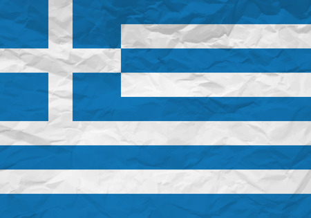 rumple: Greece flag crumpled paper textured background. Vector illustration.