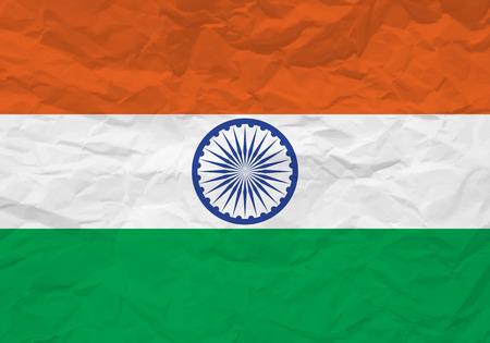 scrunch: India flag crumpled paper textured background. Vector illustration. Illustration