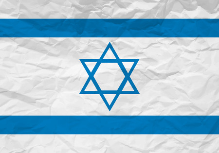 rumple: Israel flag crumpled paper textured background. Vector illustration. Illustration