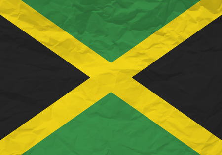 rumple: Jamaica flag crumpled paper textured background. Vector illustration. Illustration