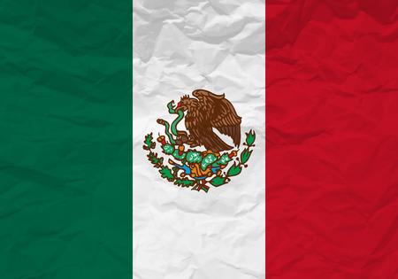 bandera mexico: Papel arrugado bandera de M�xico con textura de fondo. Ilustraci�n del vector.