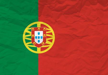 scrunch: Portugal flag crumpled paper textured background. Vector illustration. Illustration