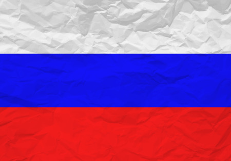 rumple: Russia flag crumpled paper textured background. Vector illustration.