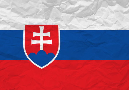 scrunch: Slovakia flag crumpled paper textured background. Vector illustration.