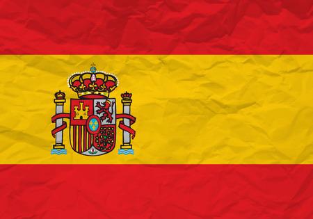 scrunch: Spain flag crumpled paper textured background. Vector illustration.