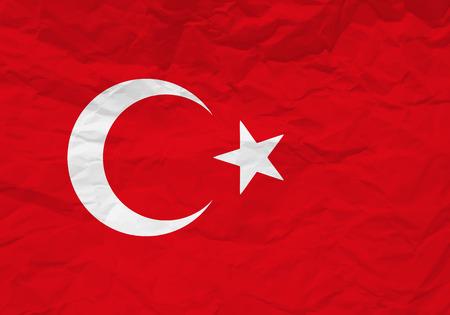 rumple: Turkey flag crumpled paper textured background. Vector illustration.