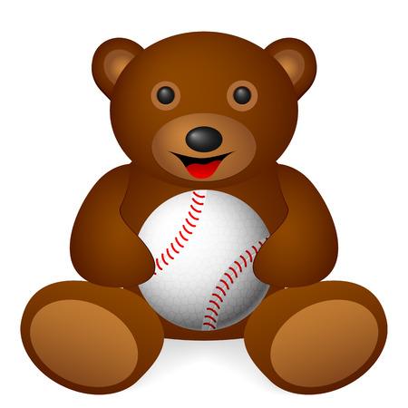 Teddy bear holding baseball on a white background. Vector illustration. Vector