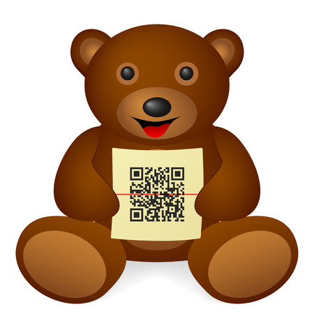 Teddy bear with QR code on a white background. Vector illustration. Illustration