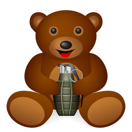 shrapnel: Teddy bear holding grenade on a white background. Vector illustration.