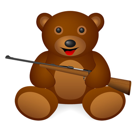 Teddy bear holding  rifle on a white background. Vector illustration.
