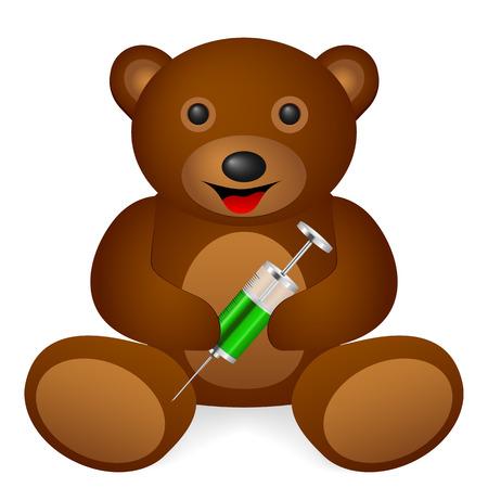 hypodermic needle: Teddy bear syringe on a white background. Vector illustration. Illustration