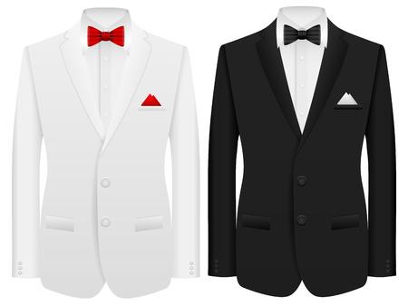 Hombres traje formal sobre un fondo blanco. Ilustración de vector