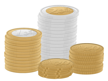 gold and silver coins: Euro coins stacks on a white background.  Illustration
