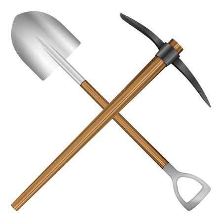 mattock: Shovel and mattock on a white background.  Illustration