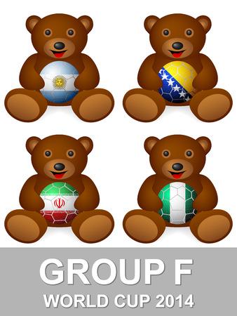 Teddy bear with national flag ball group F.  Vector