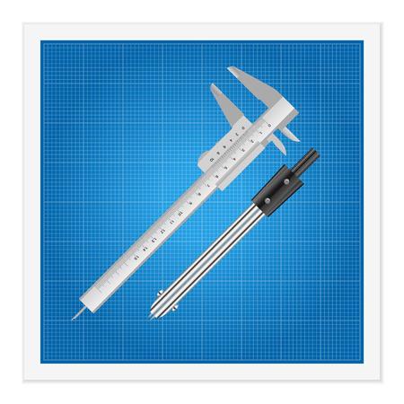 pied   � coulisse: Blueprint et r�gle instruments sur un fond blanc.
