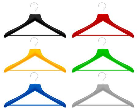 coat rack: Plastic color hangers on a white background. Illustration