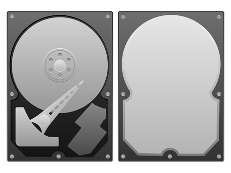 Hard disk on a white background. Vector