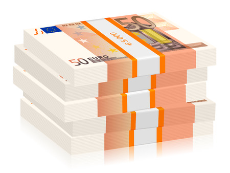wad: Fifty euro banknotes stacks on a white background. Vector illustration. Illustration