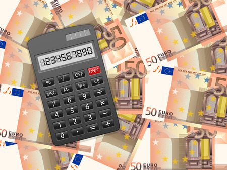 Calculator on a fifty euros background. Vector illustration. Vector