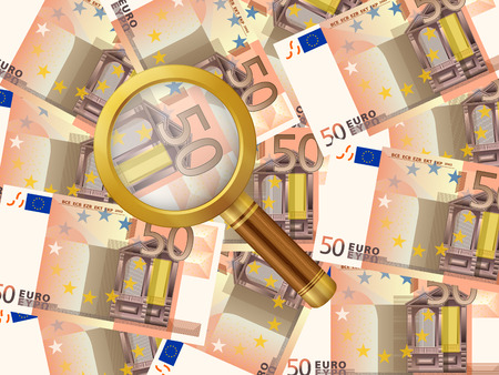 Magnifying glass on fifty euro background. Vector illustration Vector