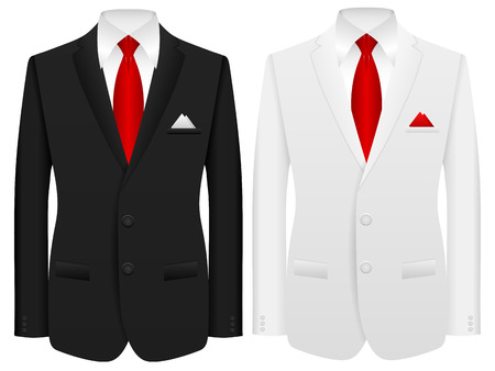 black suit: Men formal suit on a white background. Illustration
