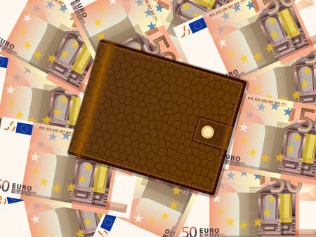 billfold: Wallet on fifty euro banknotes background. Vector illustration.