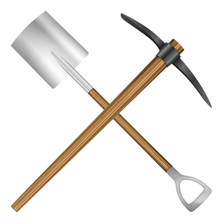 pick axe: Shovel and mattock on a white background. Vector illustration.