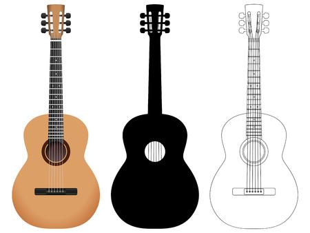 guitarra acustica: Guitarra acústica en un fondo blanco. Ilustración del vector.