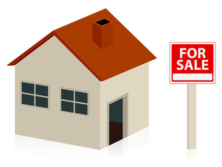 for sale sign: House and for sale sign on a white background.