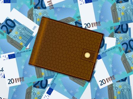 billfold: Wallet on twenty euro banknotes background. Vector illustration.